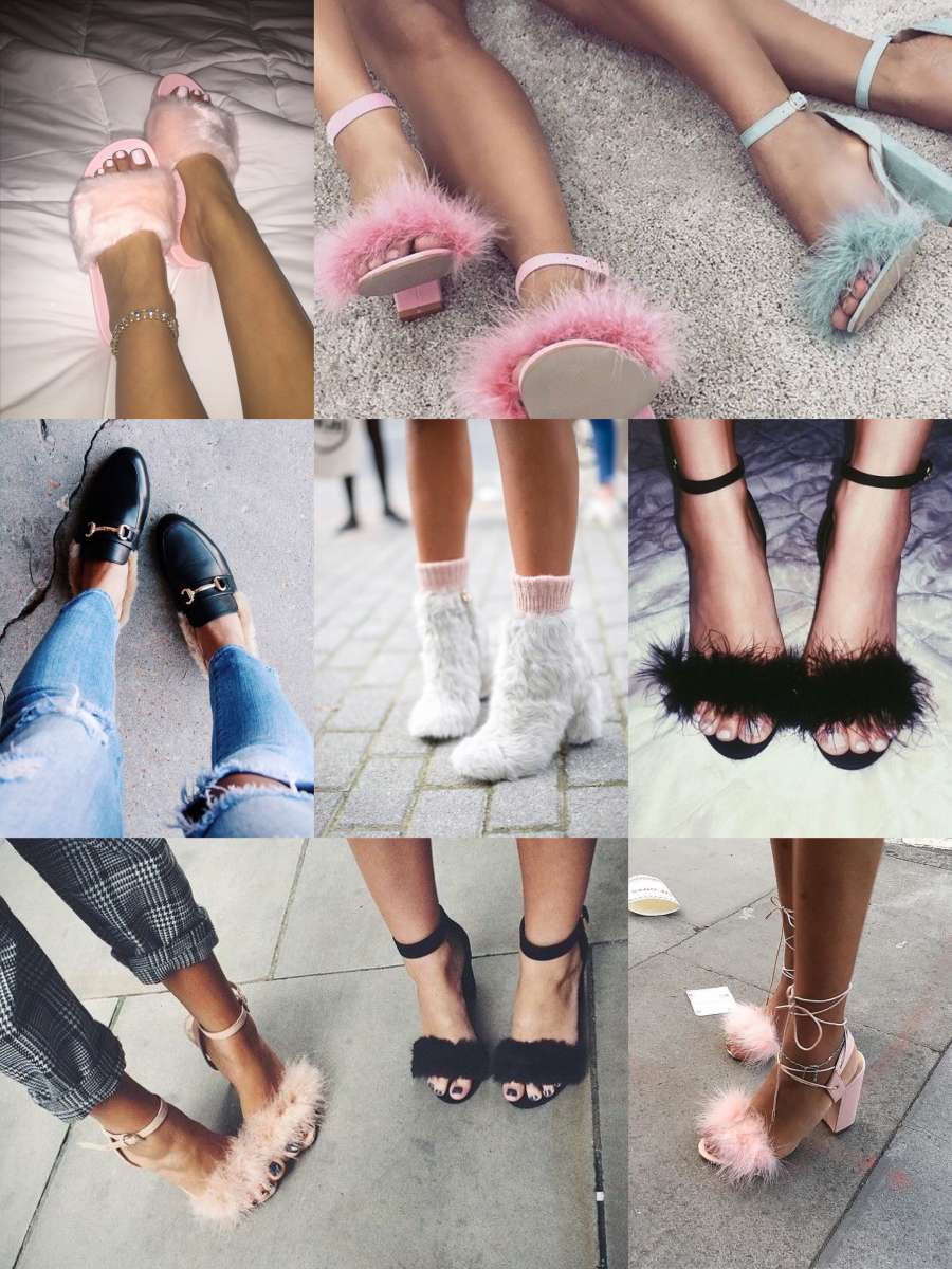 Faux fur sandálias slides