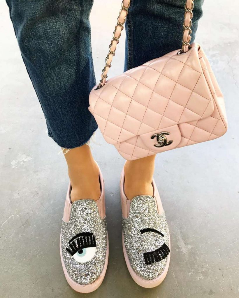"Chiara Ferragni Collection SILVER GLITTER ""FLIRTING"" SLIP-ONS WITH PINK"